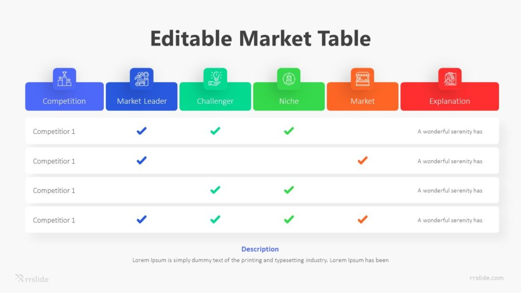 6 Stage Editable Market Table Infographic Template