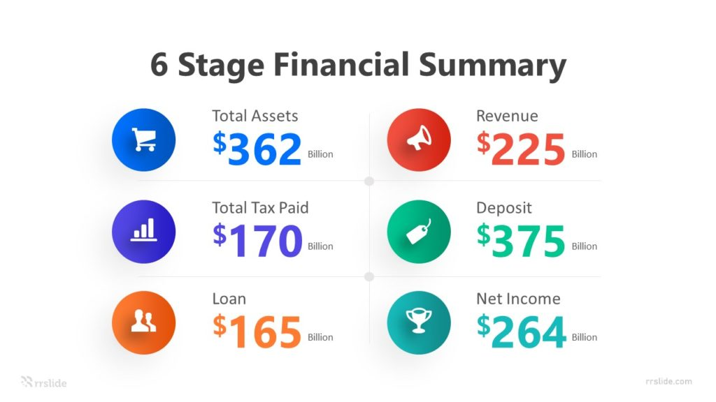 6 Stage Financial Summary Infographic Template
