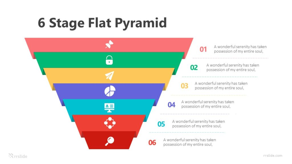 6 Stage Flat Pyramid Infographic Template