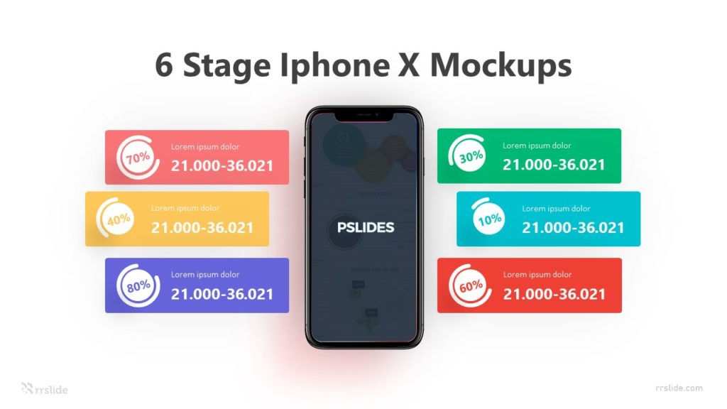 6 Stage Iphone X Mockups Infographic Template