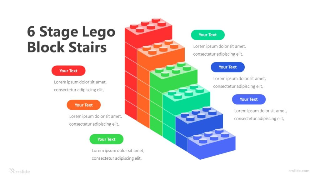 6 Stage Lego Block Stairs Infographic Template
