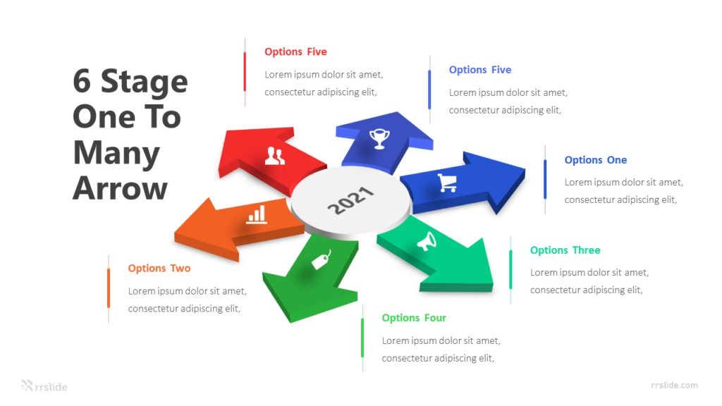 6 Stage One To Many Arrow Infographic Template
