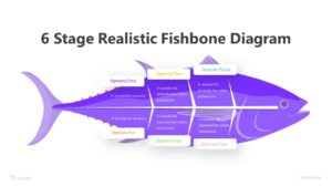6 Stage Realistic Fishbone Diagram Infographic Template