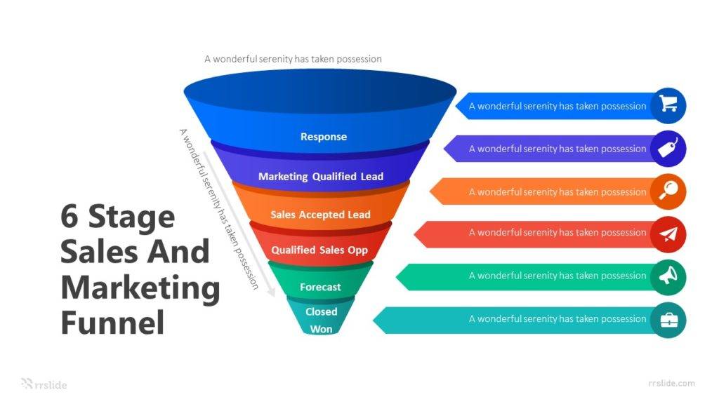 6 Stage Sales And Marketing Funnel Infographic Template