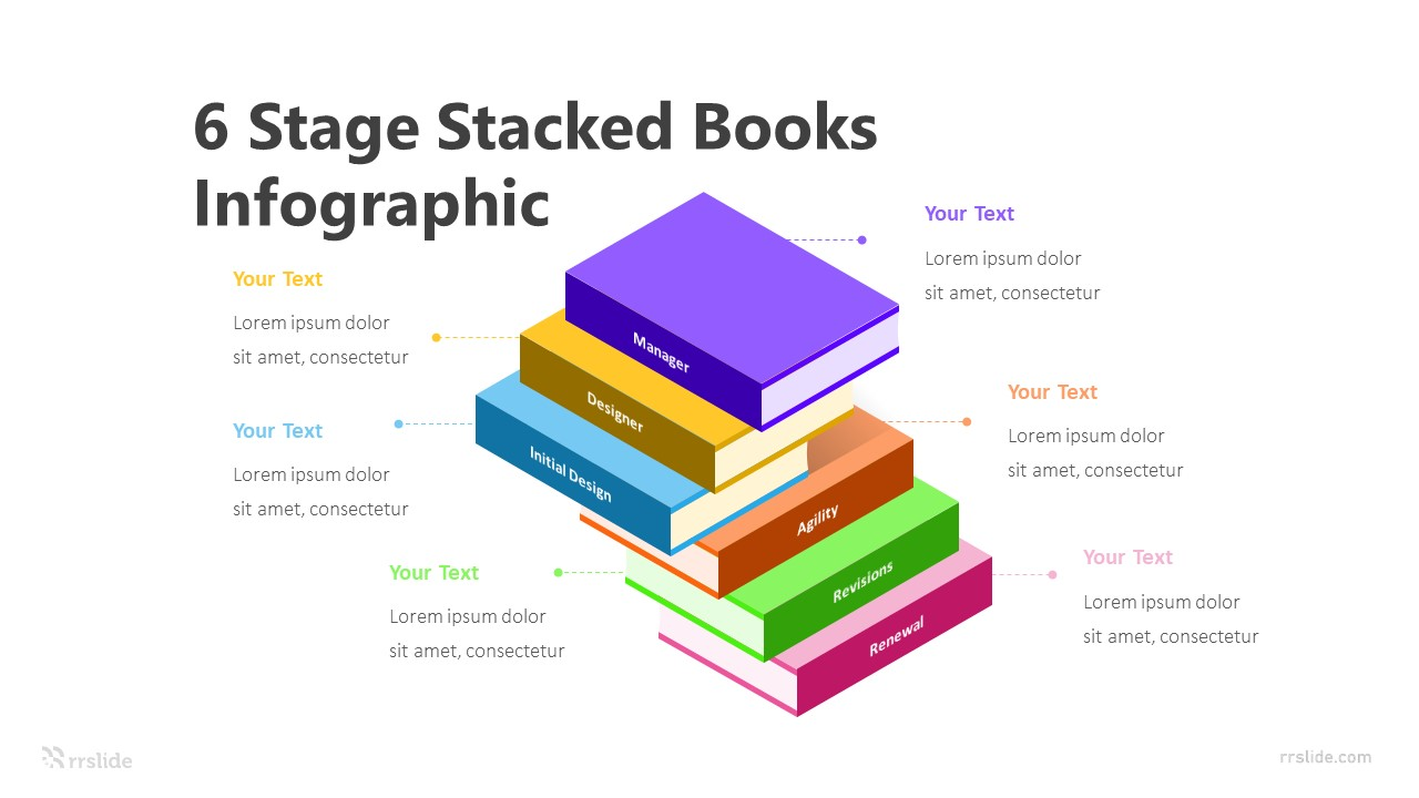 6 Stage Stacked Books Infographic Template