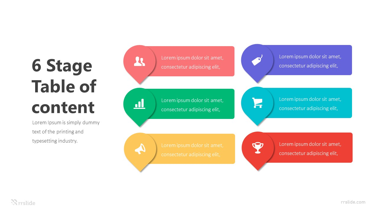 6 Stage Table of Content Infographic Template