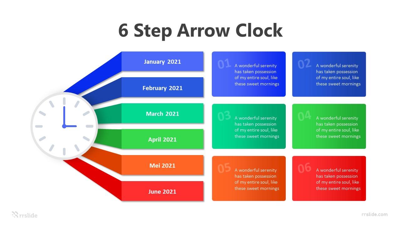 6 Step Arrow Clock Infographic Template
