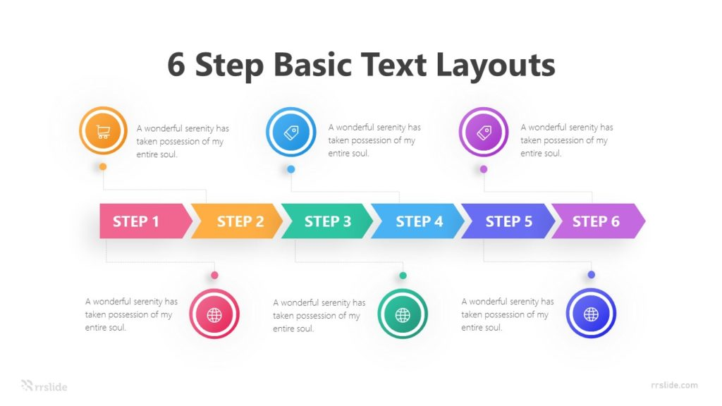 6 Step Basic Text Layouts Infographic Template
