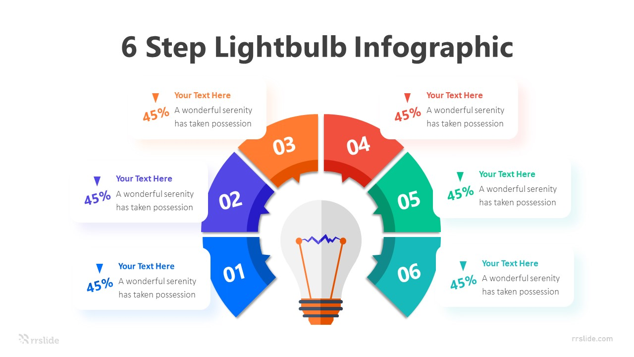 6 Step Lightbulb Infographic Template