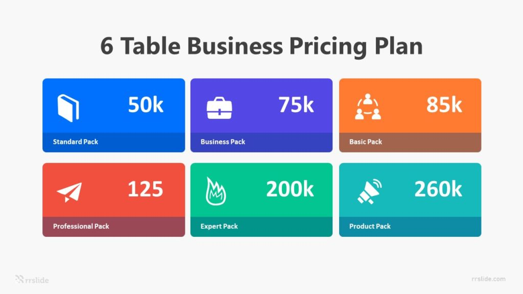 6 Table Business Pricing Plan Infographic Template