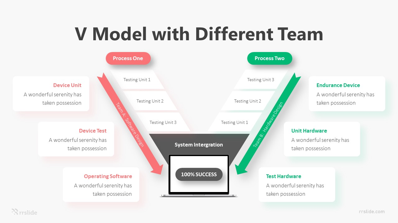 6 V Model With Different Team Infographic Template