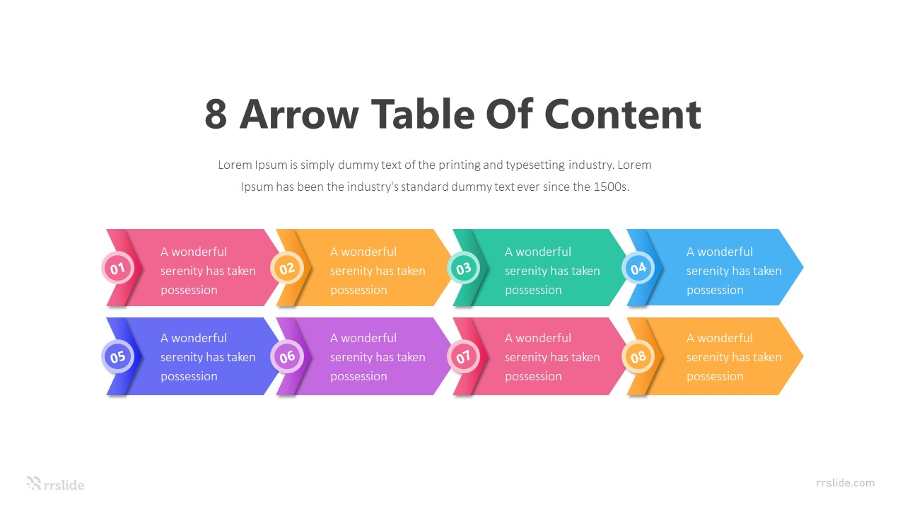8 Arrow Table Of Content Infographic Template