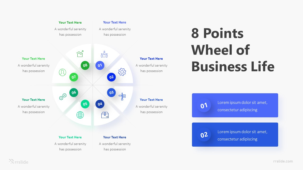 8 Points Wheel of Business Life Infographic Template