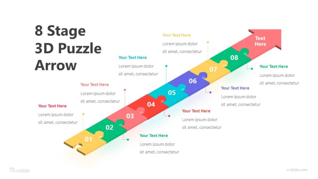 8 Stage 3D Puzzle Arrow Infographic Template
