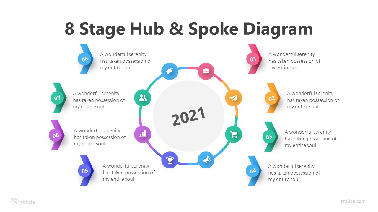 8 Stage Hub & Spoke Diagram Infographic Template