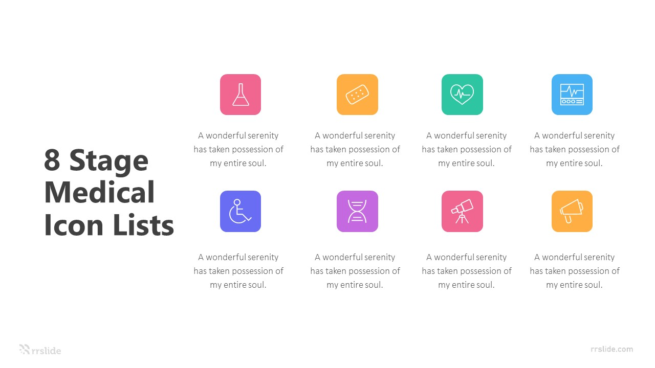 8 Stage Medical Icon Lists Infographic Template