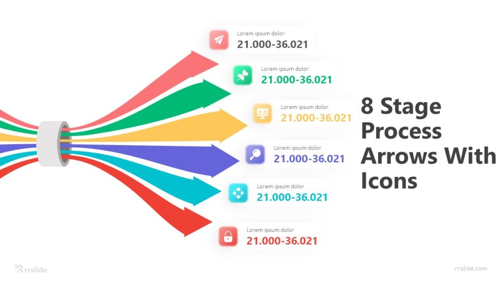8 Stage Process Arrows With Icons Infographic Template
