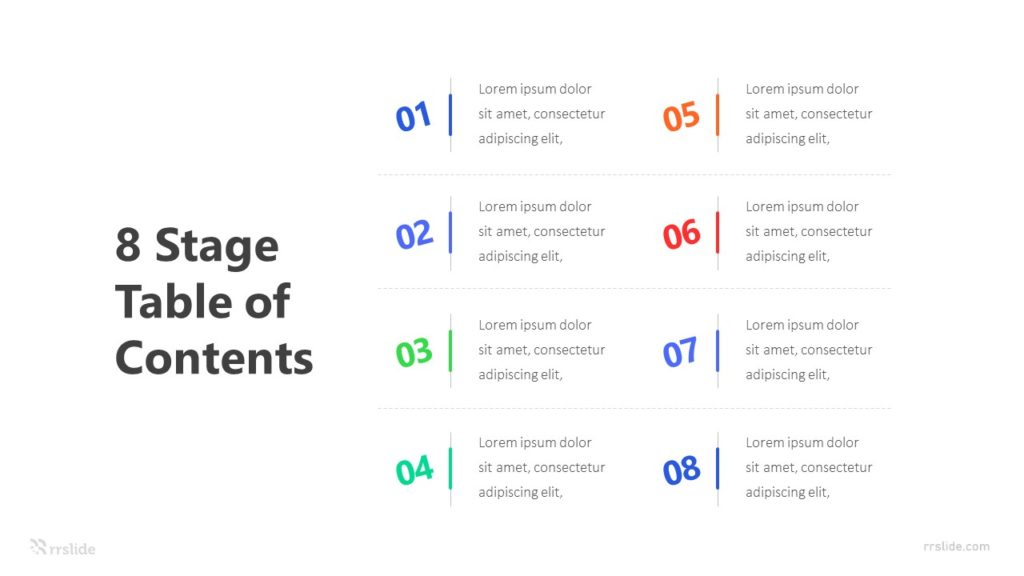 8 Stage Table of Contents Infographic Template