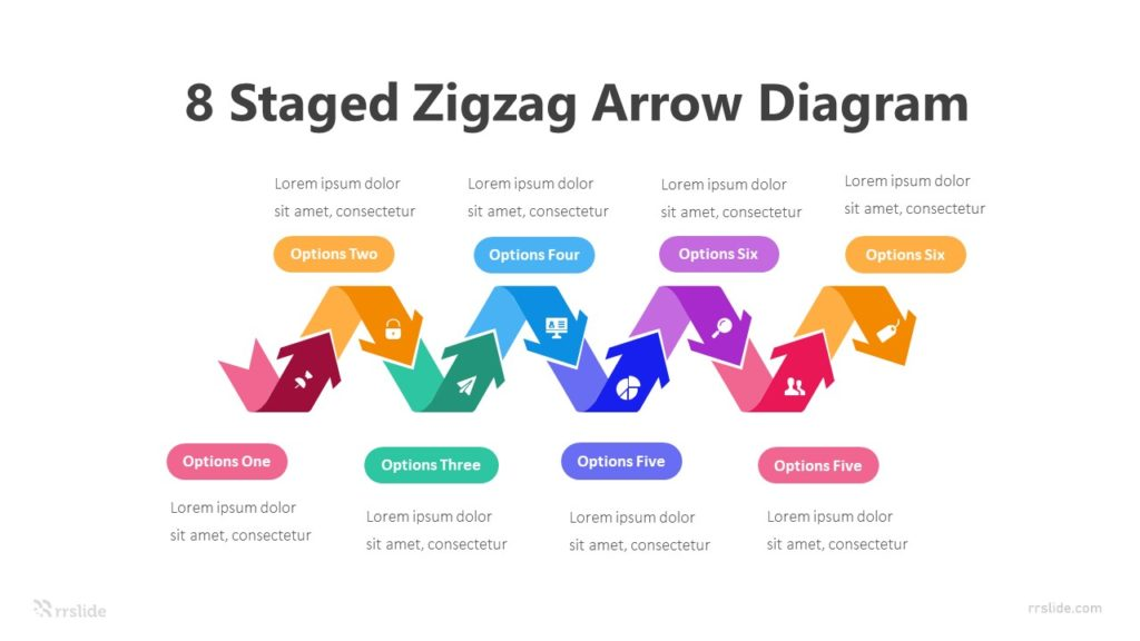 8 Staged Zigzag Arrow Diagram Infographic Template