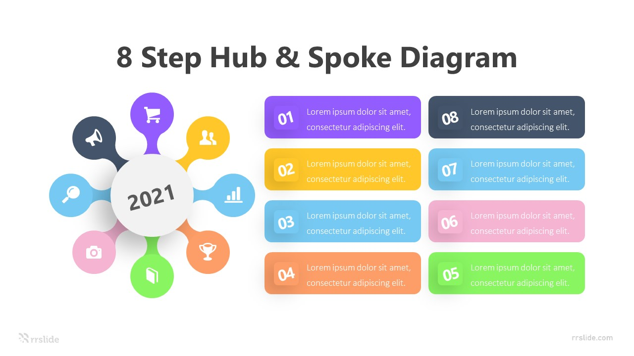8 Step Hub & Spoke Diagram Infographic Template
