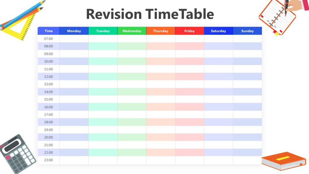8 Step Revision Time Table Infographic Template