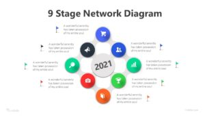 9 Stage Network Diagram Infographic Template