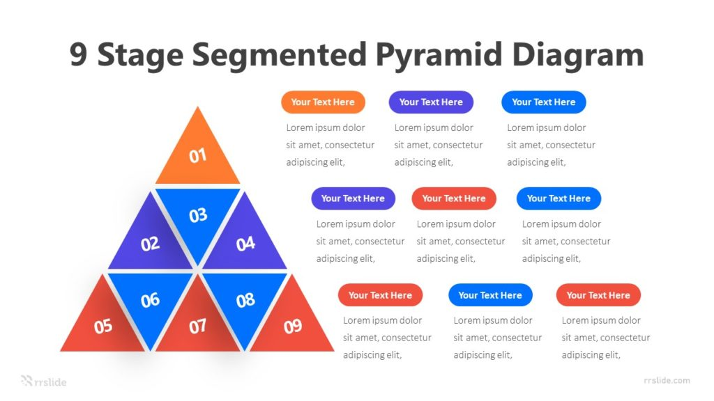 9 Stage Segmented Pyramid Diagram Infographic Template