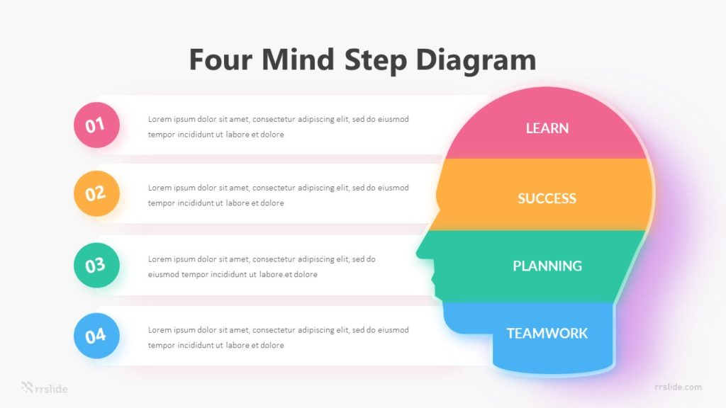 Four Mind Step Diagram Infographic Template