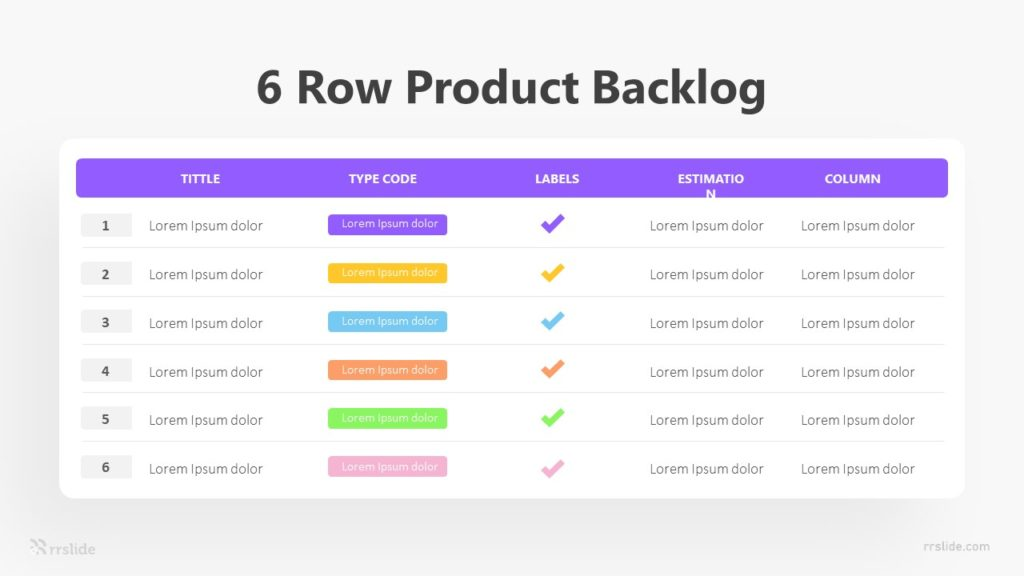 6 Row Product Backlog Infographic Template