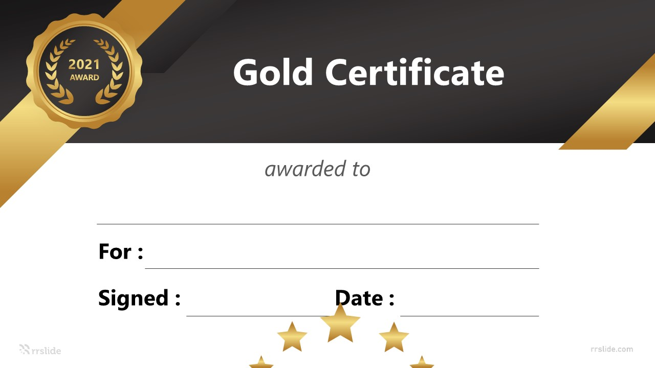 Free Gold Certificate Infographic Template