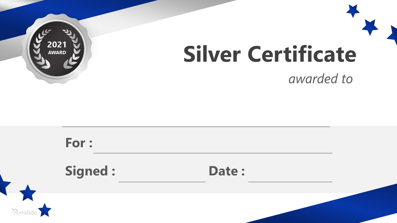 Free Silver Certificate Infographic Template