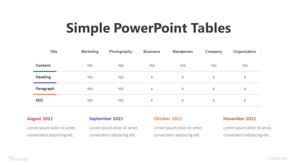 8 Simple PowerPoint Tables Infographic Template