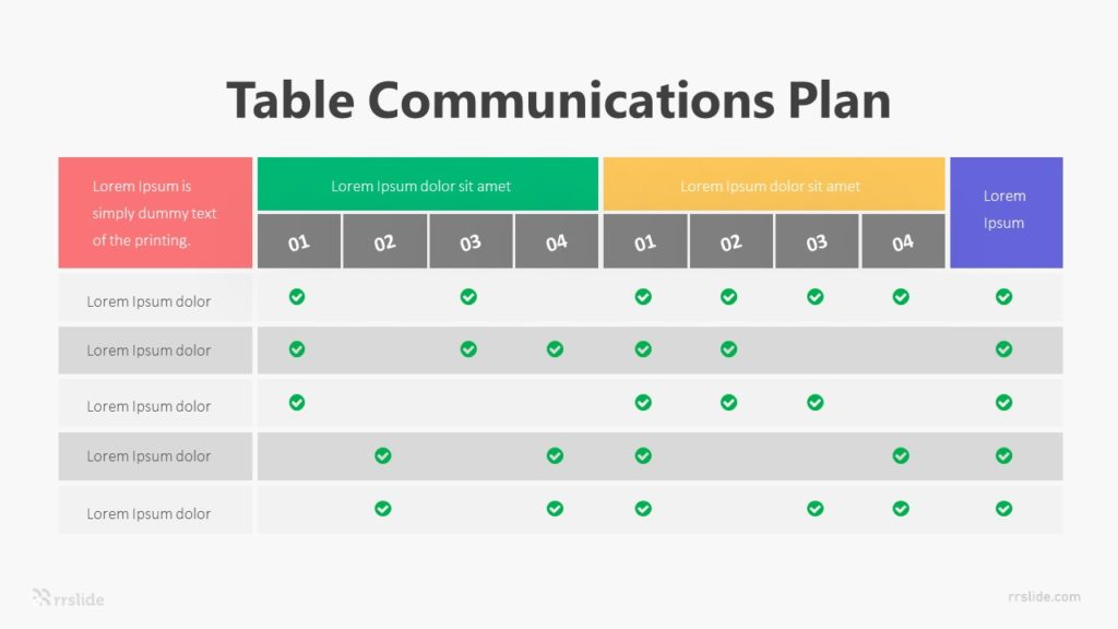 Table Communications Plan Infographic Template