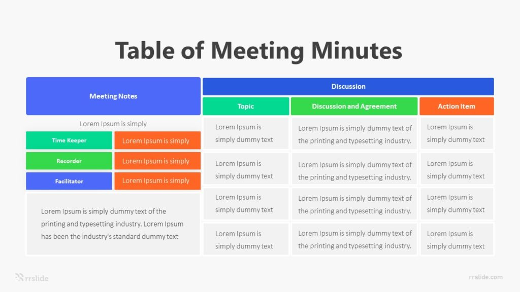 Table Of Meeting Minutes Infographic Template