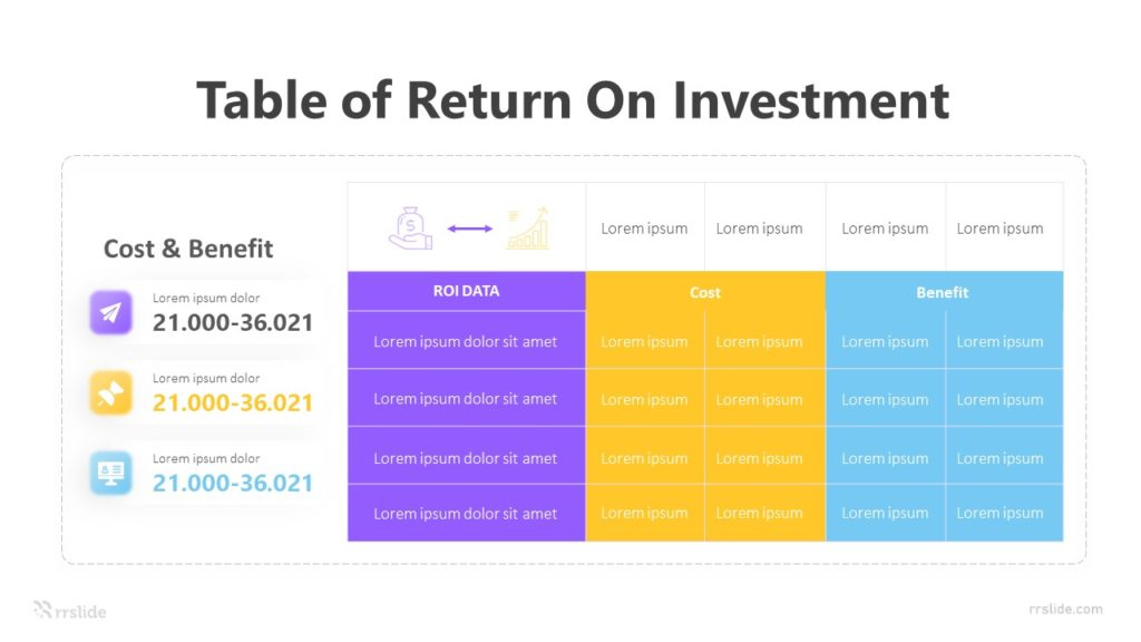 Table Of Return On Investment Infographic Template