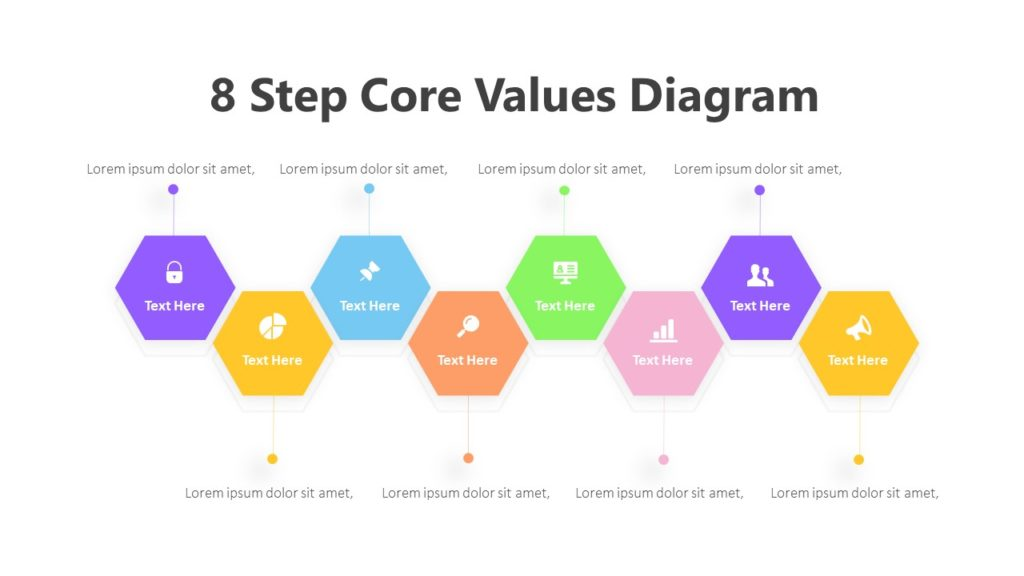 8 Step Core Values Diagram Infographic Template