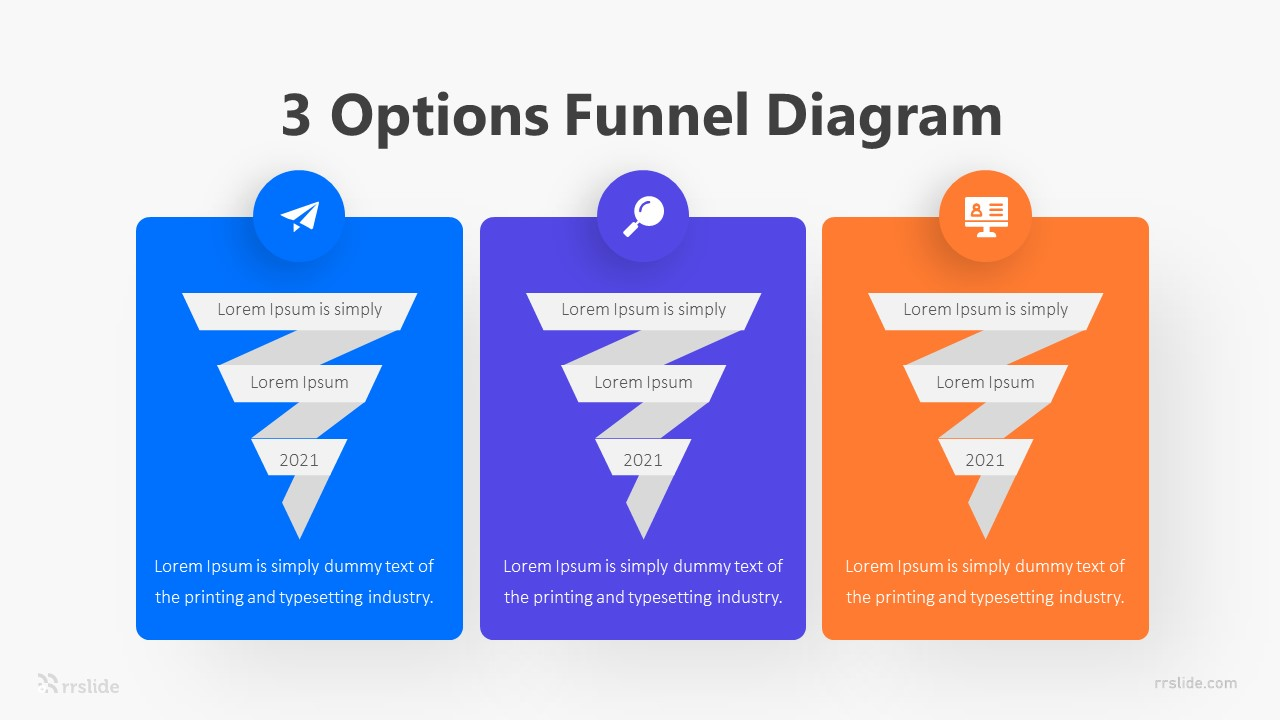 3 Options Funnel Diagram Infographic Template