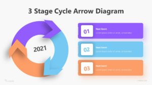 3 Stage Cycle Arrow Diagram Infographic Template