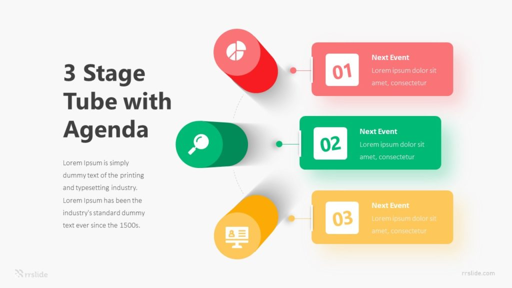 3 Stage Tube With Agenda Infographic Template