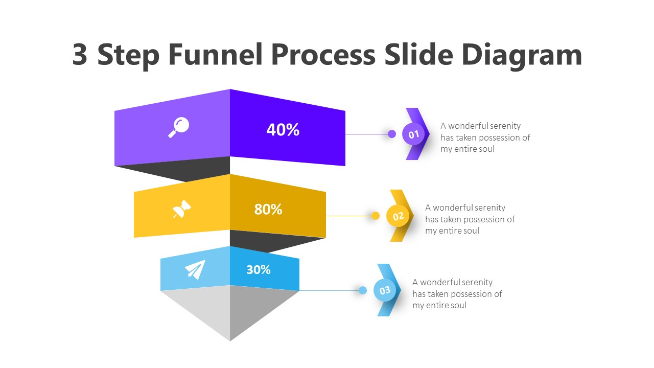 3 Step Funnel Process Slide Diagram Infographic Template
