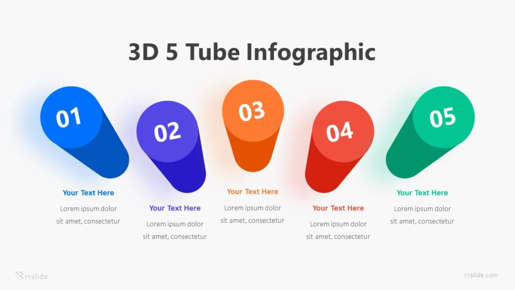 3D 5 Tube Infographic Template