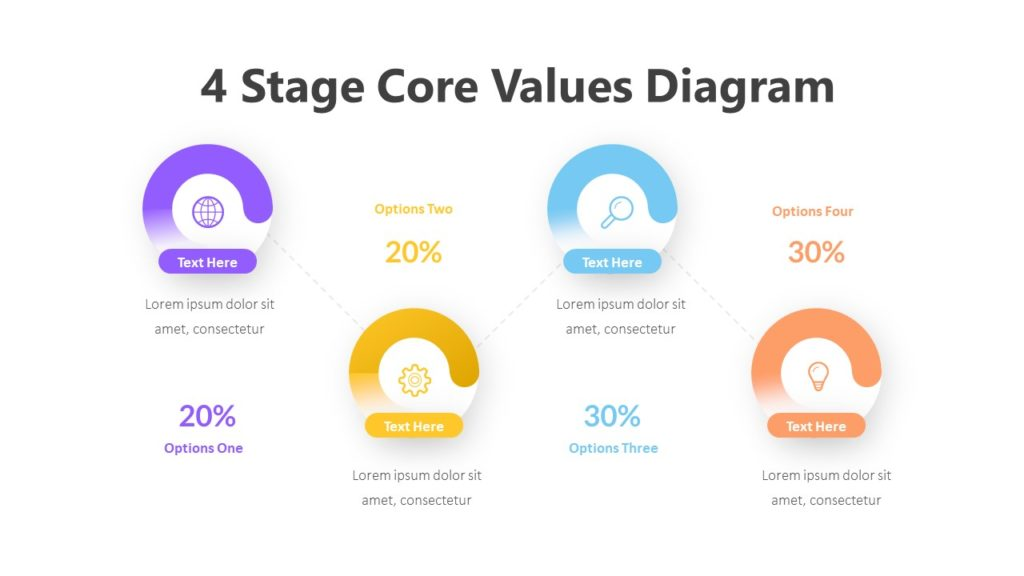 4 Stage Core Values Diagram Infographic Template