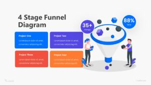 4 Stage Funnel Diagram Infographic Template
