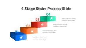 4 Stage Stairs Process Slide Infographic Template