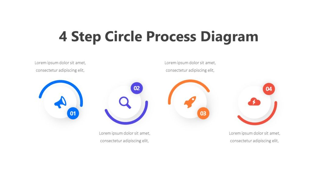 4 Step Circle Process Diagram Infographic Template