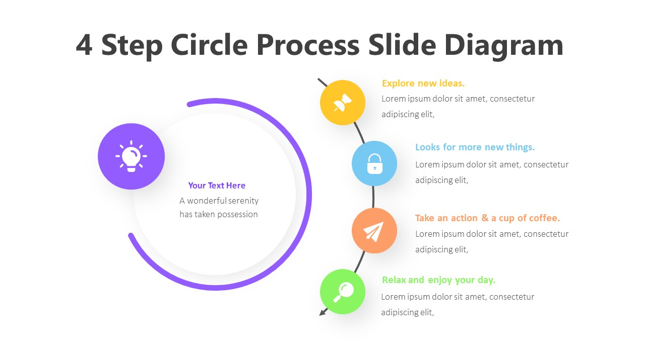 4 Step Circle Process Slide Diagram Infographic Template