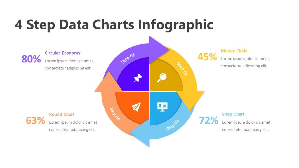 4 Step Data Charts Infographic Template