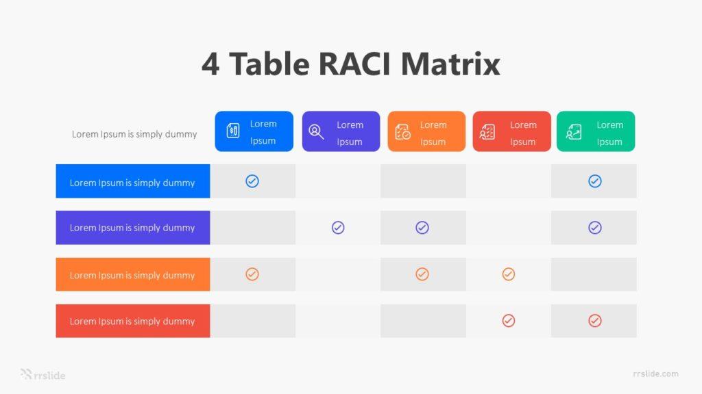 4 Table RACI Matrix Infographic Template