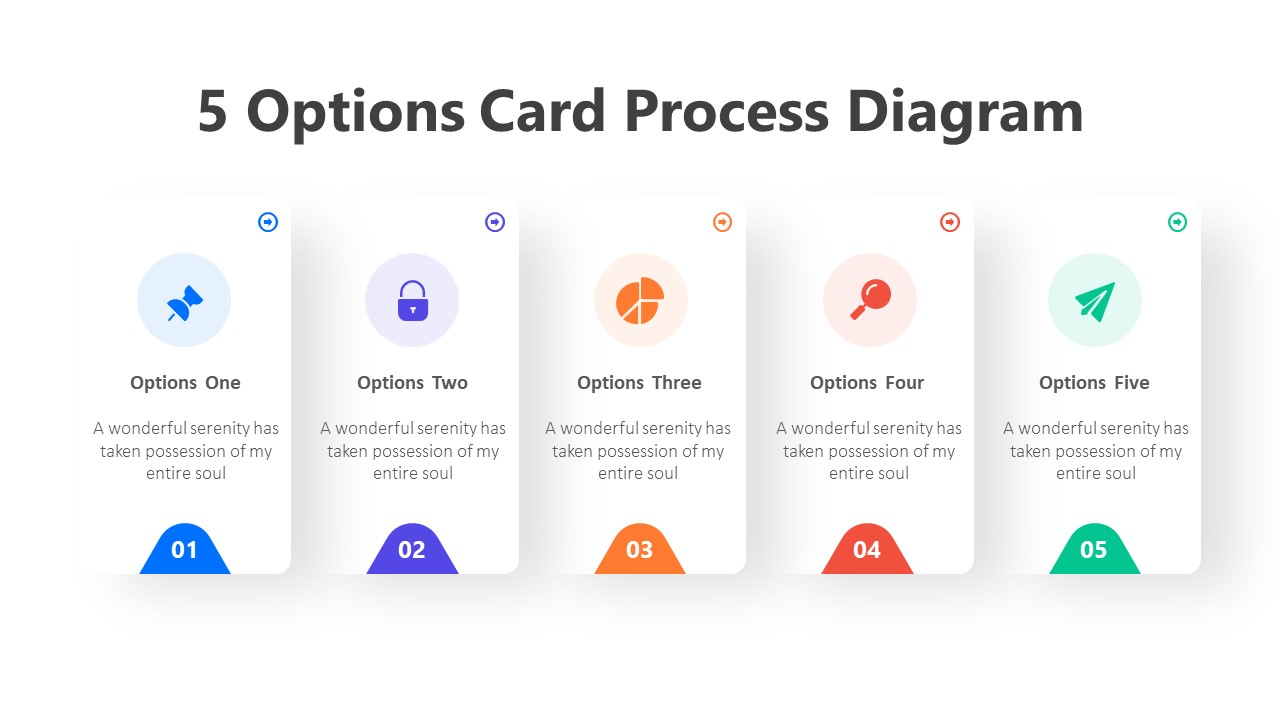 5 Options Card Process Diagram Infographic Template
