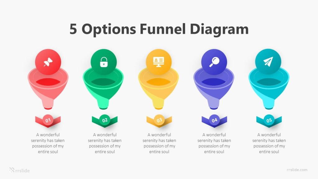 5 Options Funnel Diagram Infographic Template